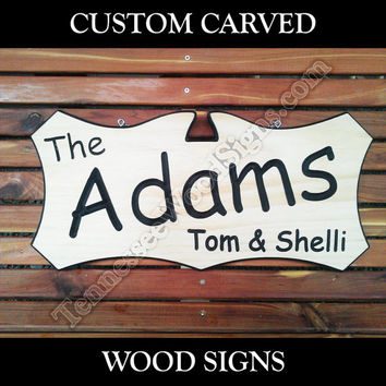 Personalized Carved Wood Signs - This is a Carved Wood Sign with Family Name and two 2 first names RV Camp Ground Wedding Gift Home Address
