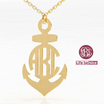 anchor Necklace name Gold Plated Monogram Necklace hand made 18k Gold Plated Necklace name Necklace Personalized Monogram Sterling silver