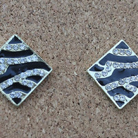 Zebra Post Earrings with Rhinestone Accents and Gold Colored Finish