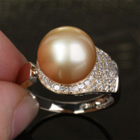 Unique Pave 10.8mm South Sea Pearl Solid 14K Yellow Gold .35ct Diamond Ring 4.4g