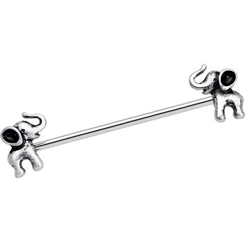 14 Gauge Stainless Steel Lucky Elephants Industrial Barbell 38mm