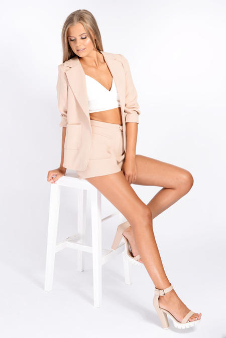 0800472a1dc84 Lois Nude Tailored Shorts   Blazer Co-Ord from inthestyle.com