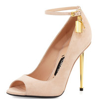 Tom Ford Suede Open-Toe Ankle-Lock Pump, Nude