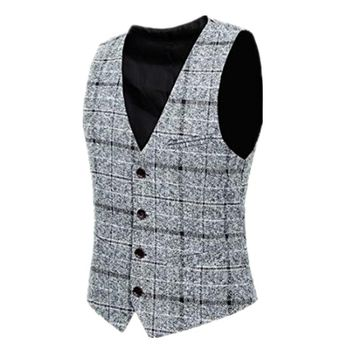 YFFUSHI 2018 Men Vest Red Plaid Vest Single Breasted V-neck Collar Casual Style Slim Fit Wedding Party Wear Plus Size