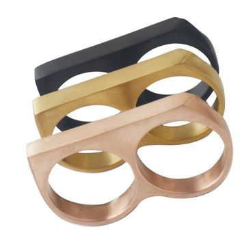 Valily Jewelry Two Finger Ring Vintage Stainless steel Rings Cool Punk Party Big Statement fashion ring Men finger ring