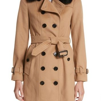 Burberry Sandringham Wool & Cashmere Trench Coat with Removable Genuine Fox Fur Collar | Nordstrom