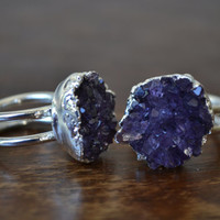 GALAXY  /// Double Banded Amethyst Cluster Silver Electroformed Ring