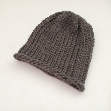 grey mens beanie, knit beanie hats, hand knitted mens hats, loom knitted beanie, chunky toques, mens grey beanie, womens winter beanies,