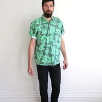 Vintage 80s Men's Neon Green Abstract Print Button Up Cotton Beach Shirt