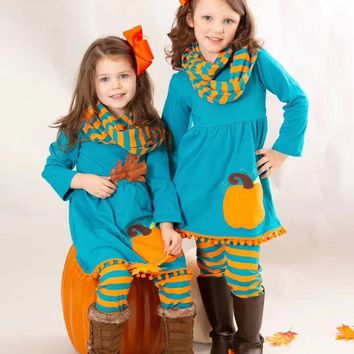 Fall/winter baby girls 3 pieces scarf children clothes jade pumpkin orange striped pom-pom cotton long sleeve outfits boutique