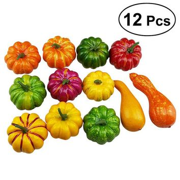 Assorted Artificial Pumpkins and Gourds Table Centerpiece for Autumn Fall and Thanksgiving Display