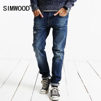 SIMWOOD Brand 2017 New Autumn Winter  Robin jeans  men  fashion denim pants slim fit hole  clothing high quality  SJ6067