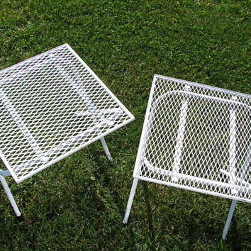 Vintage Chippy White Metal Patio Table Folding Table by ThirdShift