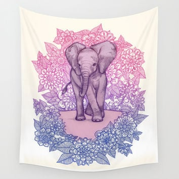 Cute Baby Elephant in pink, purple & blue Wall Tapestry by Micklyn