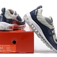 """""""Nike Air Max 98 Supreme"""" Men Sport Casual Fashion Multicolor Stitching Patent Leather Air Cushion Running Shoes Sneakers"""