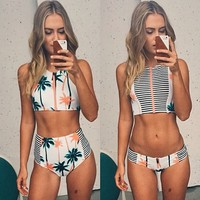 3895854 Palm Tree printed stripe bikini by Luxedaze Bikini