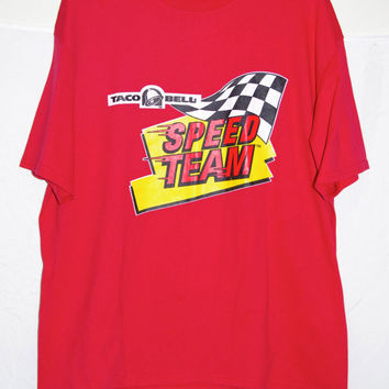 90's SPEED TEAM taco bell red t-shirt size adult extra large