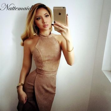NATTEMAID suede dress for women pink color turtle neck sleeveless dresses sexy party wear fitted bodycon high waist vestidos
