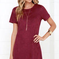 Well Suede Burgundy Suede Shift Dress