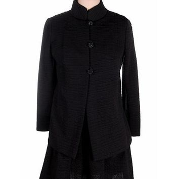 Vintage Black Textured Nylon Cocktail Dress &Coat 1970s Belfry 35-32-36