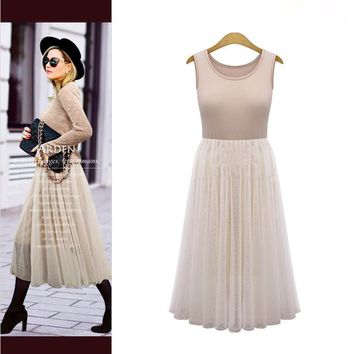 NEW Tulle Summer Dress Casual Pleated Slim Gauze Two Piece Long Sundress + Tops
