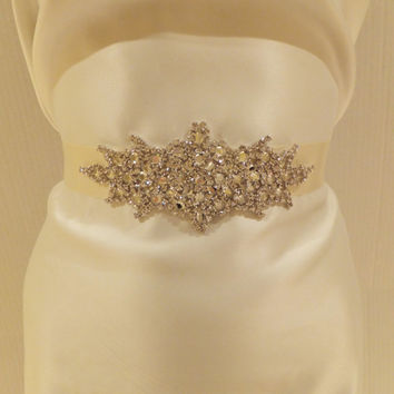 Bridal Rhinestone Sash ALYSSA Bridal Sash by BellaCescaBoutique