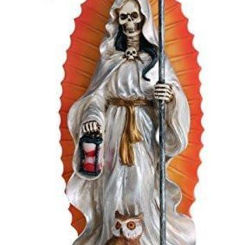 Santa Muerte Saint of Holy Death Standing Religious Statue 7.25 Inch White Tunic Purification Santisima Muerte Sculpture