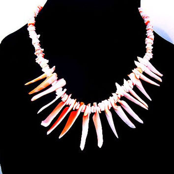 "Branch Coral Necklace Single Strand Pink Red Color Barrel Clasp 17"" Vintage"