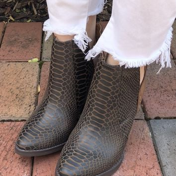 Snake Bite Bootie - Dark Brown
