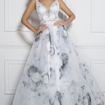 Tony Bowls White With Black Floral Print Prom Dress