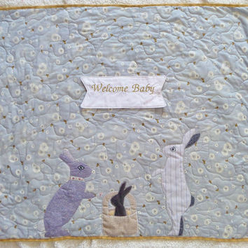 New baby gift - Homemade baby quilts - Bunny baby blanket - Bunny crib bedding - lavender baby bedding - Ready to ship