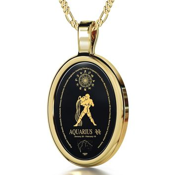 Aquarius Zodiac Sign 24K Gold Plated Necklace