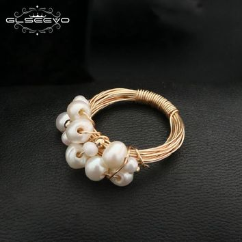 GLSEEVO Natural Fresh Water Baroque White Pearl Rings For Women Handmade Vintage Wedding Personality Ring Fine Jewellery GR0193