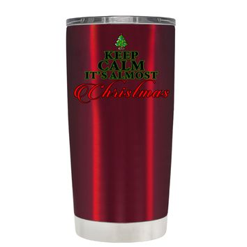 TREK Keep Calm Its Almost Christmas on Translucent Red 20 oz Tumbler Cup
