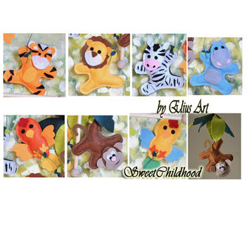 Felt jungle animal ornaments christmas felt hanging baby mobile, safari lion, hippo, zebra, monkey, tiger, bird, hanging decoration ornament