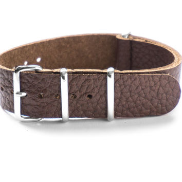 LEATHER NATO STRAP COFFEE