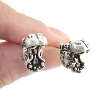 Miniature Hippo Shaped Realistic Stud Earrings in Silver | Animal Jewelry