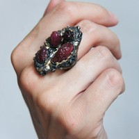 Volcano statement ring is sterling silver with raw rubies, ring size 8
