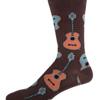 Mens Guitar Print Crew Socks