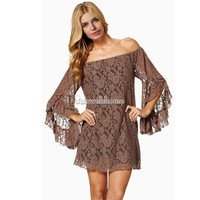 Vintage Hippie Boho Bell Long Sleeves Gypsy Festival Lace Mini Dress Tops Blouse