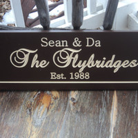 Personalized Family Name Established Sign Plaque Last Name Sign Wall Sign Carved Engraved 8x24
