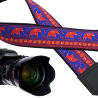 Photo Camera strap with Lucky Elephant design for DSLR and SLR cameras. Photography equipment with personalization.