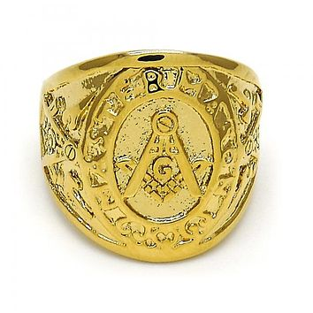 Gold Layered Mens Ring, Gold Tone