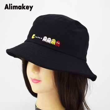New PIXELS Movie Pacman Bucket Hat Ghost And Pac Summer Man Panama Sunhat Fishing Bucket Caps Polo Hat Unisex Sad Boy Caps