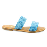 Seashore62s by Bamboo, Blue Denim Women's Flat Strappy Sandal w Double Strap & Adjustable Ankle Strap