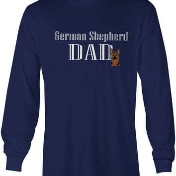 German Shepherd Dad Long Sleeve Blue Unisex Tshirt Adult Double Extra Large BB5219-LS-NAVY-2XL