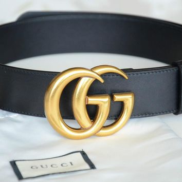 Day-First™ Unisex Gucci Belt BLACK Leather GG Gold Buckle size 90 fits 30-32