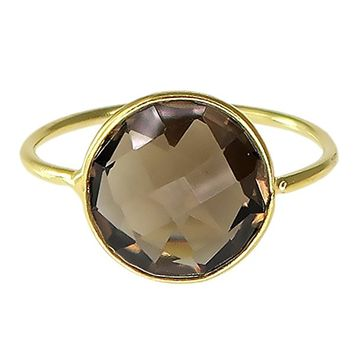 Smoky Quartz 18K Gold Plated Sterling Silver Wholesale Gemstone Fashion Jewelry Round Cut Ring