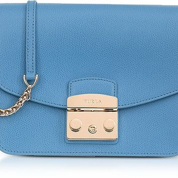 Furla Veronica Blue Lizard Printed Leather Metropolis Small Crossbody Bag