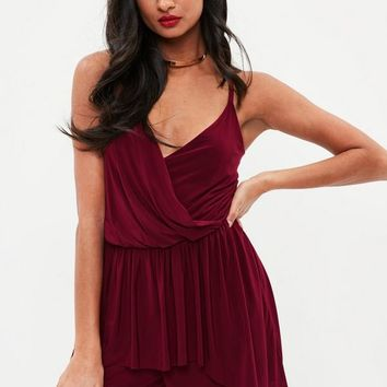 Missguided - Burgundy Slinky Wrap High Low Romper